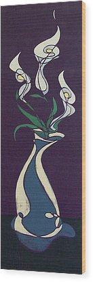 Floral On Violet Wood Print