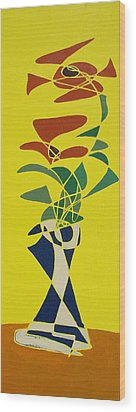 Floral On Yellow Wood Print