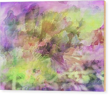 Floral Pastel Abstract Wood Print by Mikki Cucuzzo