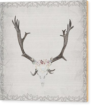 Floral Reindeer Skull  Wood Print by Michele Carter