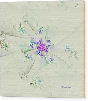 Wood Print featuring the digital art Floral Spiral by Deborah Benoit
