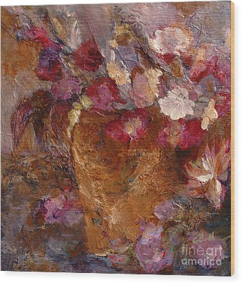 Floral Still Life Pinks Wood Print by Claire Bull
