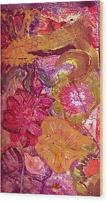 Floral Whimsy 2 Wood Print by Anne-Elizabeth Whiteway
