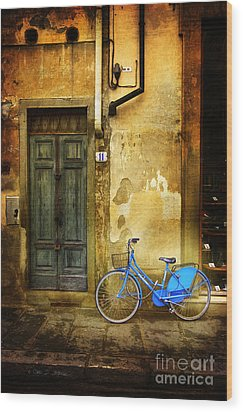 Florence Blue Bicycle Wood Print