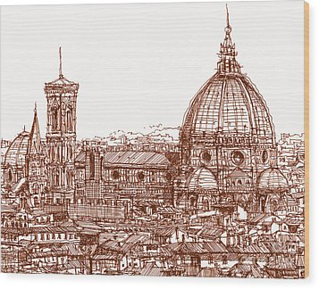 Florence Duomo In Red Wood Print by Adendorff Design