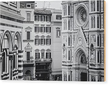 Wood Print featuring the photograph Florence Italy View Bw by Joan Carroll