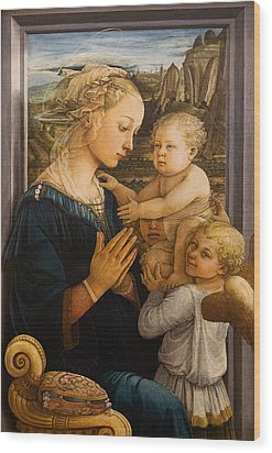 Florence - Madonna And Child With Angels- Filippo Lippi Wood Print