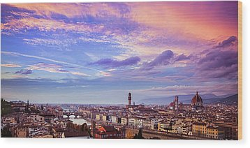 Wood Print featuring the photograph Florence Skyline At Sunset by Andrew Soundarajan