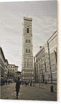 Florence Square With Giotto Wood Print by Emilio Lovisa