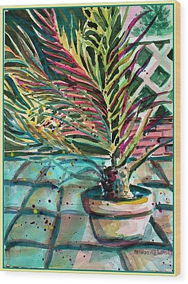 Wood Print featuring the painting Florescent Palm by Mindy Newman