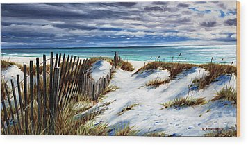 Wood Print featuring the painting Florida Beach by Rick McKinney