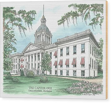 Florida Capitol 1902 Wood Print