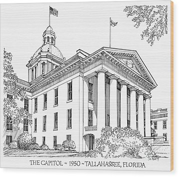 Florida Capitol 1950 Wood Print by Audrey Peaty