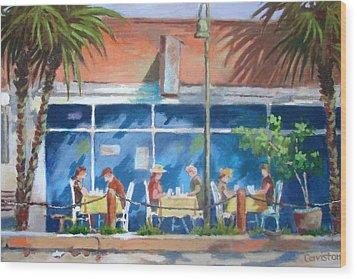 Wood Print featuring the painting Florida Dining Out by Tony Caviston
