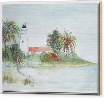 Wood Print featuring the painting Florida Lighthouse by Sibby S