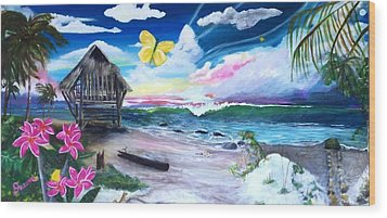 Wood Print featuring the painting Florida Room by Dawn Harrell