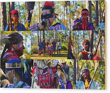 Wood Print featuring the photograph Florida Seminole Indian Warriors Circa 1800s by David Lee Thompson