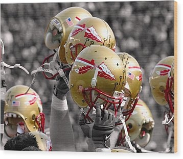 Florida State Football Helmets Wood Print by Mike Olivella
