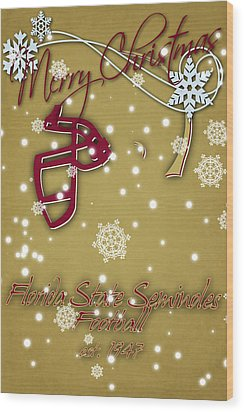 Florida State Seminoles Christmas Card 2 Wood Print by Joe Hamilton