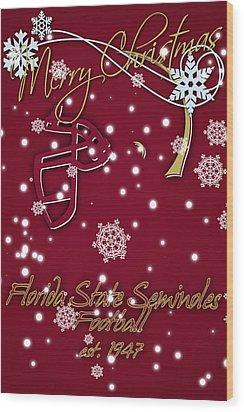 Florida State Seminoles Christmas Card Wood Print by Joe Hamilton