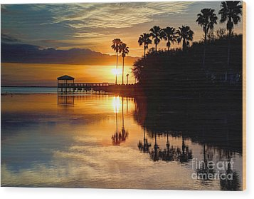 Florida Sunrise Wood Print by Rick Mann