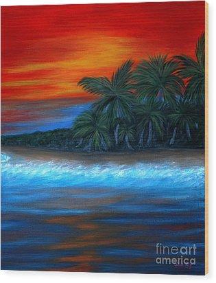 Florida Sunset Wood Print by Oksana Semenchenko