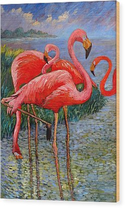 Wood Print featuring the painting Florida's Free Flamingo's by Charles Munn