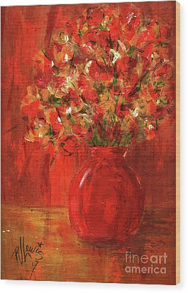 Wood Print featuring the painting Florists Red by P J Lewis