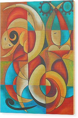 Floutine With Rhythm Wood Print by Marta Giraldo