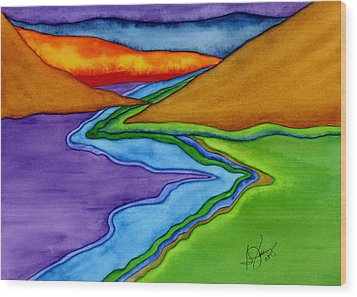 Flow - Blending The Chakras Wood Print by Stephanie  Jolley