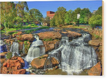 Flow On Reedy River Falls Park Art Greenville Sc Wood Print by Reid Callaway