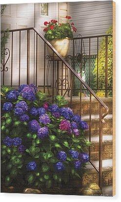 Flower - Hydrangea - Hydrangea And Geraniums  Wood Print by Mike Savad