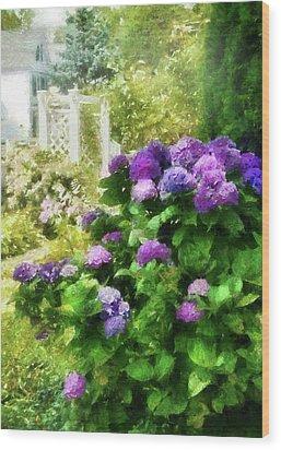 Flower - Hydrangea - Lovely Hydrangea  Wood Print by Mike Savad