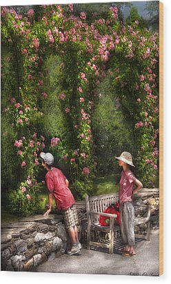 Flower - Rose - Smelling The Roses Wood Print by Mike Savad