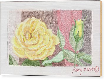 Flower 4 - Yellow Rose And Bud Wood Print by Rod Ismay