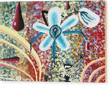 Flower And Ant Wood Print by Luke Galutia