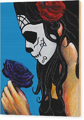Flower And Skull Wood Print