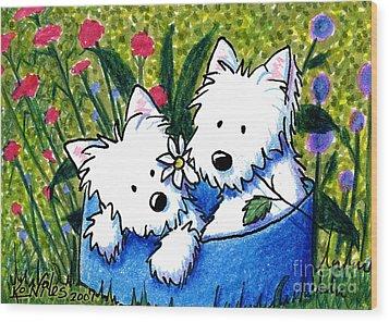 Flower Bed Westies Wood Print