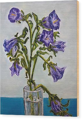 Flower  Bluebells Original Oil Painting Wood Print by Natalja Picugina