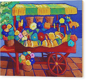 Flower Cart Wood Print by Candy Mayer
