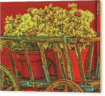 Flower Cart Wood Print
