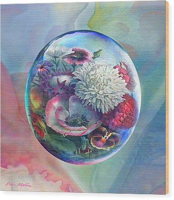 Wood Print featuring the painting Flower Drop Blues by Robin Moline
