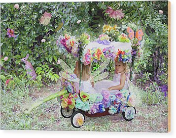Flower Fairies In A Flower Mobile Wood Print
