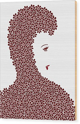 Flower Fashion Wood Print by Frank Tschakert