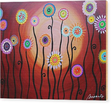 Wood Print featuring the painting Flower Fest by Pristine Cartera Turkus