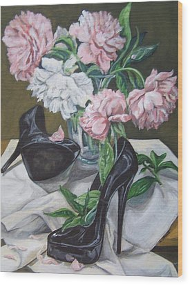 Wood Print featuring the painting Flower Fetish by Laura Aceto