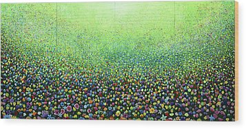 Flower Field Riot Wood Print by Geoff Greene
