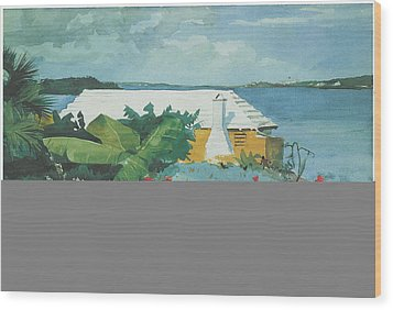 Flower Garden And Bungalow Bermuda Wood Print by Winslow Homer