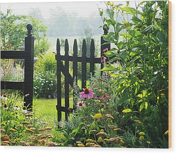 Flower Gate Wood Print