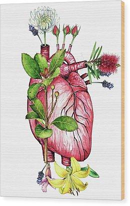 Flower Heart Wood Print by Heidi Kriel